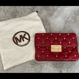 Red Michael Kors Studded Clutch